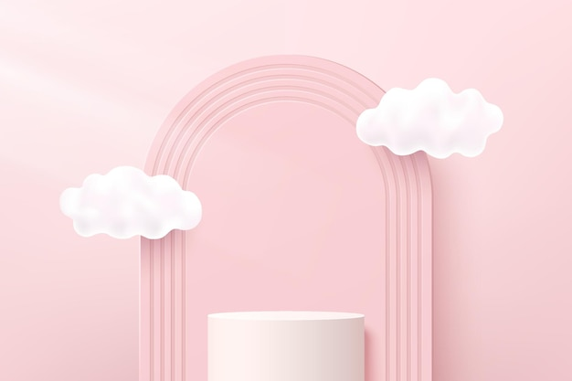 Abstract white 3d cylinder pedestal or stand podium with arches backdrop and clouds flying. pastel pink minimal scene for cosmetic product display presentation. vector geometric rendering platform.