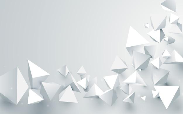 추상 흰색 3d 피라미드 배경