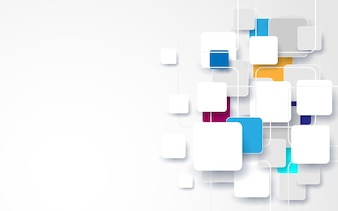 Abstract white and colorful square background