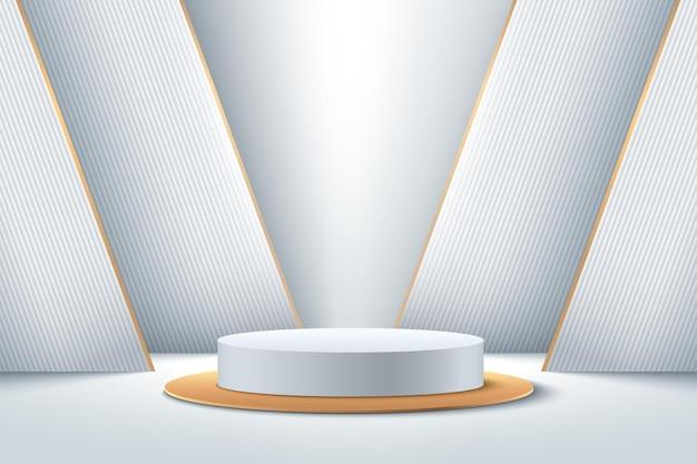 제품에 대한 추상 흰색과 금색 라운드 디스플레이. 미래의 3d 렌더링 기하학적 모양 실버 색상입니다.