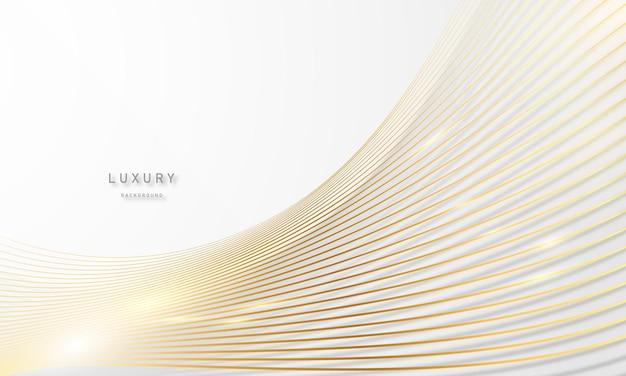 화려한 황금 선 장식으로 추상 흰색과 회색 배경.