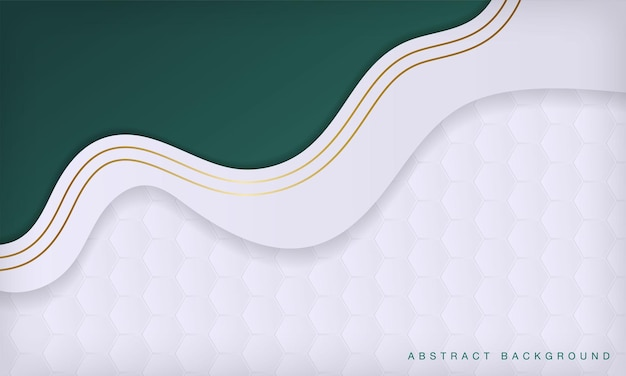 金色の曲線の豪華な背景を持つ抽象的な白と緑