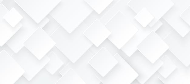 Абстрактный белый и светло-серый квадратный узор с перекрытием на фоне с тенью