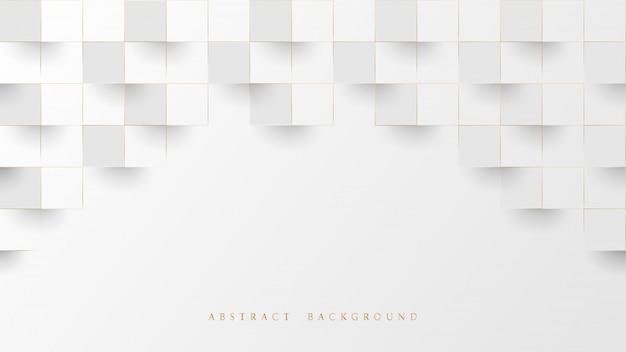 抽象的な白と線の金3 d幾何学模様の背景。豪華な積み上げボックス。