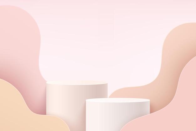 レイヤーの波状の背景を持つ抽象的な白とピンクの3dシリンダー台座またはスタンド表彰台