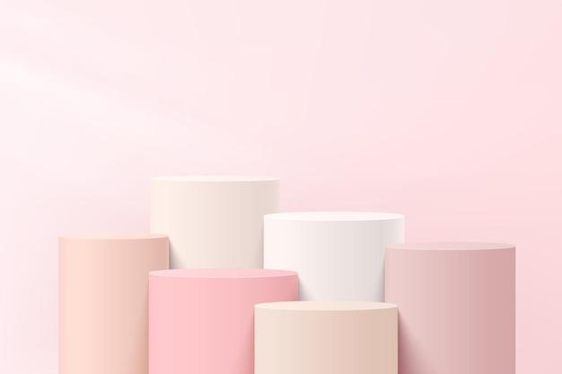 Абстрактные белые и розовые 3-мерные шаги цилиндра постамент или подиум стойки с пастельно-розовой стеной для презентации косметической продукции. векторный дизайн платформы геометрической визуализации. eps10 вектор.