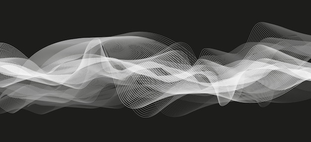 Abstract white audio wave on black background