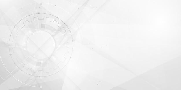동적 웨이브 네트워크 기술로 추상 흰색 배경 포스터