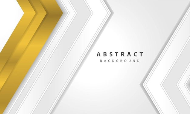 Abstract white background vector with gold arrow layer. elegant arrow gold shape design.