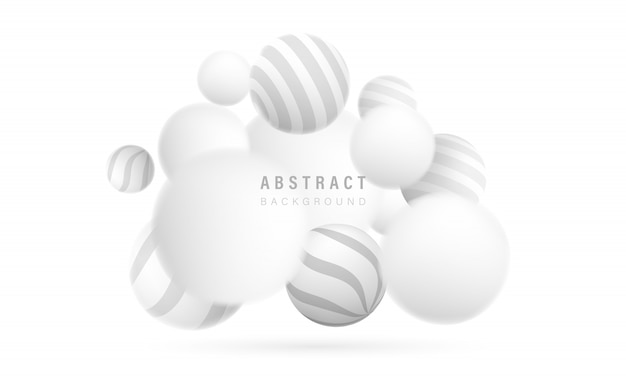 Abstract white background with dynamic 3d spheres. clean background with striped pattern balls.