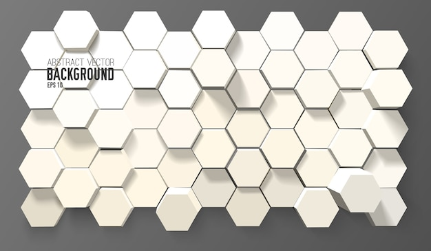 Abstract white background with geometric hexagons