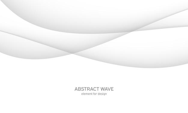 滑らかな灰色の線、波と抽象的な白い背景。
