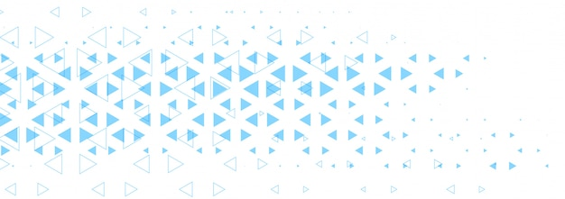 Abstract white banner with blue triangle shapes design