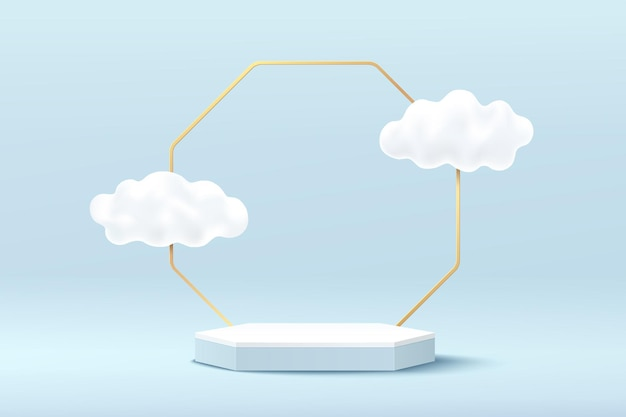 Abstract white and blue 3d hexagon pedestal podium with golden geometric backdrop and cloud flying