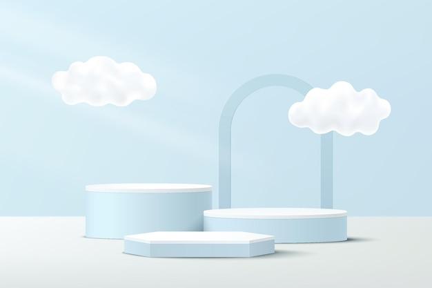 구름 비행 및 아치 배경으로 추상 흰색 파란색 3d 육각형 및 실린더 받침대 연단