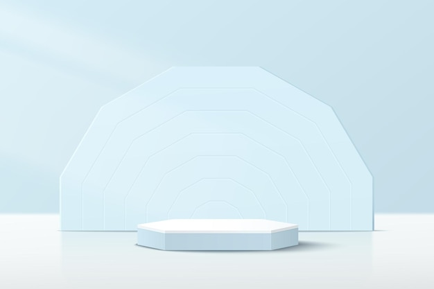 Abstract white blue 3d hexagonal pedestal podium with blue geometric backdrop and pastel blue scene