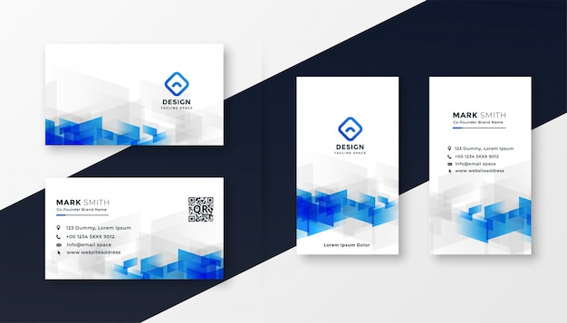 Abstract white and blue business card template set