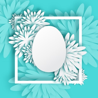 Abstract white blue  greeting card - happy easter day
