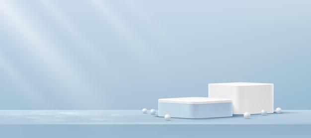 Abstract white and blue round corner cube platform podium pedestal