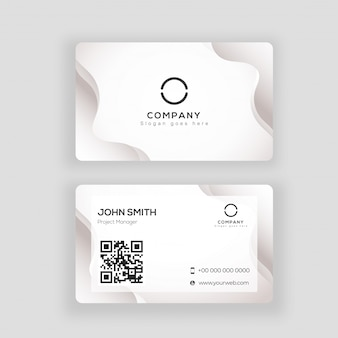 Abstract white business card or visiting card design in front and back view.