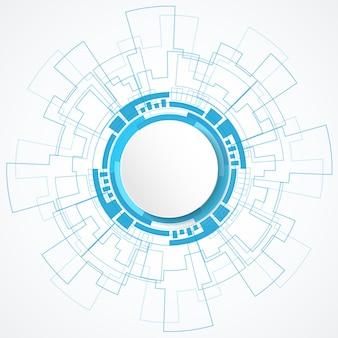 青いデジタル技術サークルの背景に抽象的な白いサークルバナー