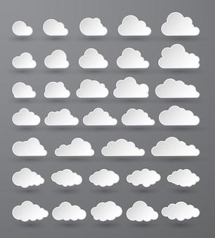 Абстрактный белый облачный набор, изолированные на темном фоне