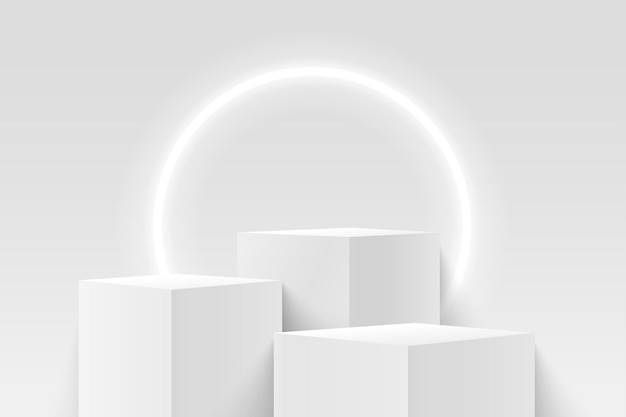ネオンサークルの背景を持つ製品の抽象的な白い立方体の表示。 3dレンダリングの幾何学的形状。