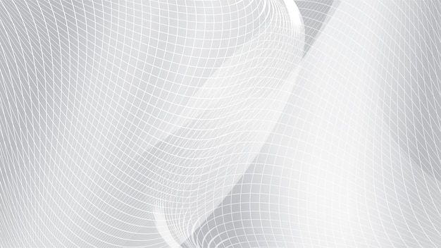 Abstract white curve wave mesh