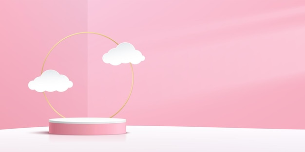 Abstract white cylinder pedestal podium pink wall scene with golden ring and cloud paper cut style