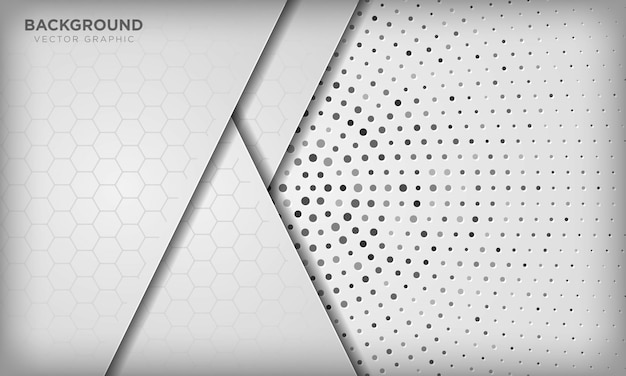 銀の放射状ハーフトーンの六角形パターンで抽象的な白い次元重複背景。