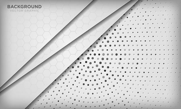 Абстрактная белая предпосылка перекрытия размера с картиной шестиугольника на серебряных радиальных полутоновых изображениях.