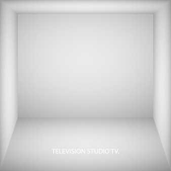 Abstract white empty room, niche with white wall, floor, ceiling, dark side without any textures, box top view colorless 3d illustration