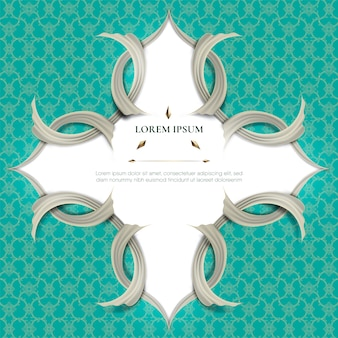 Abstract white frame plus white smooth rip curl edges on turquoise tradition thai pattern background.