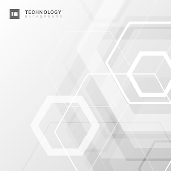 Abstract white geometric hexagon background.