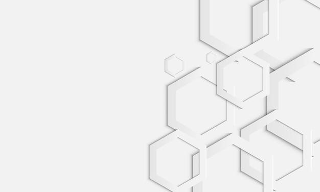 흰색 배경에 추상 흰색 기하학적 육각형 겹치는 레이어. 귀하의 웹사이트를 위한 디자인.