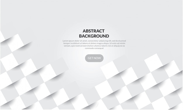 Abstract white geometric  shape background with 3d paper style