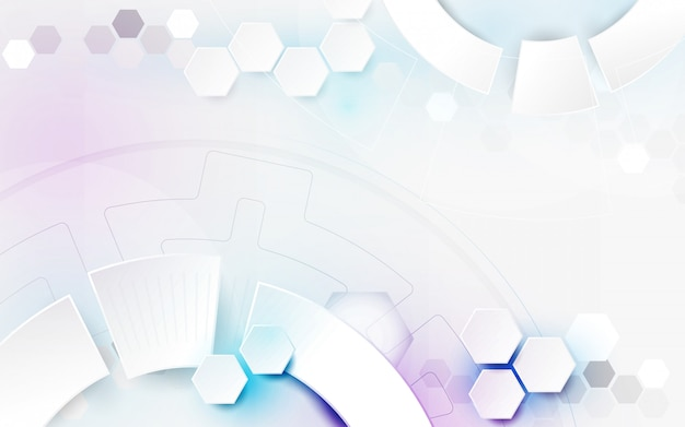Abstract white geometric technology background