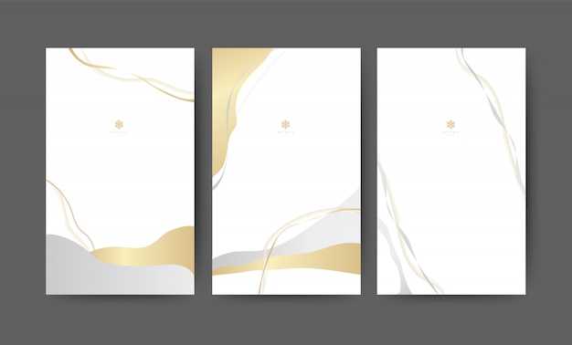 Abstract white and gold background. minimal freehand banner set
