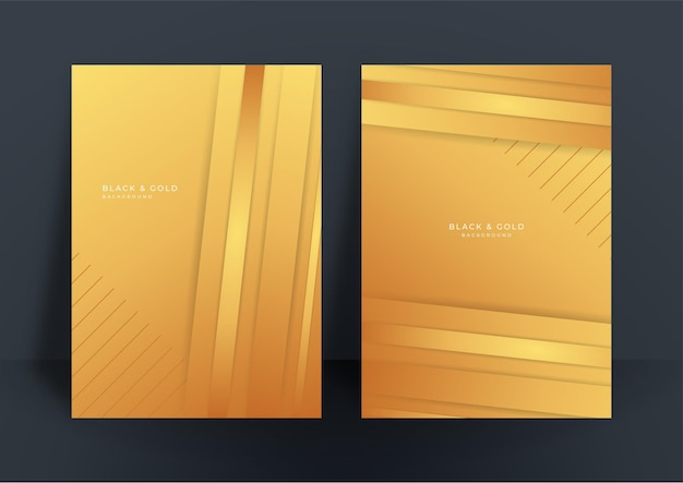 Abstract white and gold cover design template background. gold abstract shapes pattern in premium gold color. luxury golden stripe vector layout for business background, certificate, brochure template