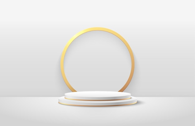 Abstract white and gold round display for product presentation.