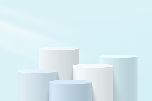 Abstract white, gray and blue 3d steps cylinder pedestal or stand podium with pastel blue wall scene for cosmetic product display presentation. vector geometric rendering platform design. vector eps10