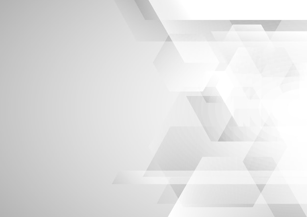 Abstract white and gray geometric hexagon