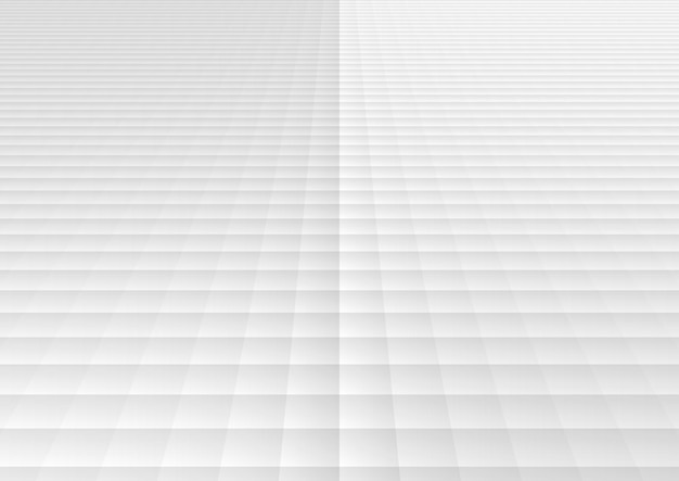 Abstract white and gray geometric square grid pattern perspective background and texture.