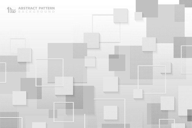 Abstract white and gray square tech pattern design of technology with halftone