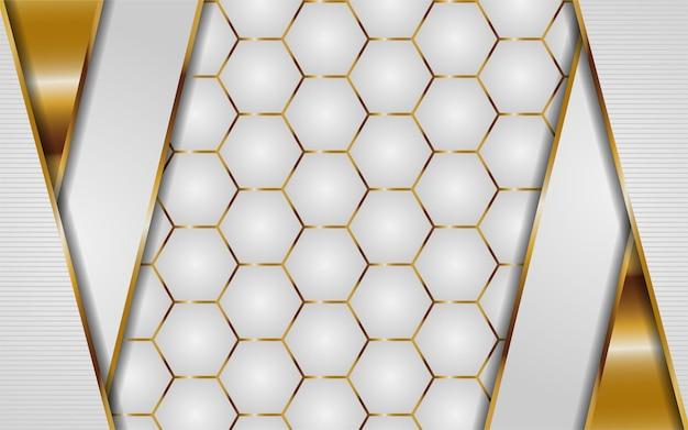 金の線で抽象的な白い六角形の背景