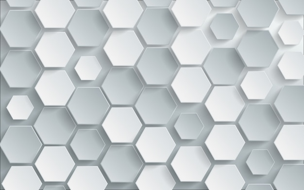 Abstract white hexagon background.