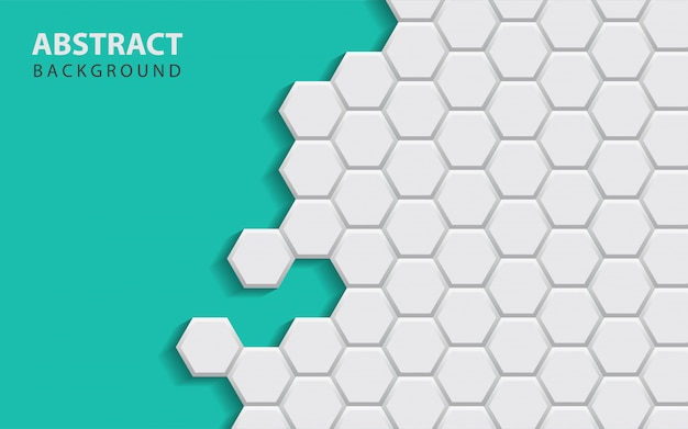 Abstract white hexagon shapes on blue background