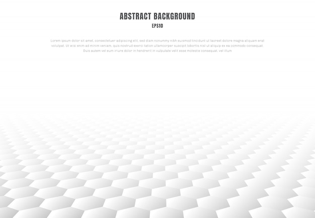 Abstract white hexagons pattern perspective background