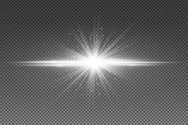 Abstract white light effect isolated on transparent background. glowing star with flying luminous particles. random neon lines.