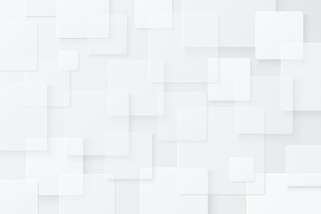 Abstract white and light grey geometric square overlapped pattern on background with shadow
